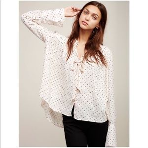 NWT Free People New World Dotted Blouse Size Small